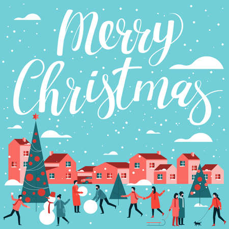 Flat design Christmas and New Year vector template. Men, women and chidren walking outdoor Christmas activities on the old town buildings background. Flat cartoon illustration