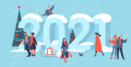 Flat design Christmas and New Year vector concept. Preparing to meet 2021 new year. Business people building the numbers 2021. Illustration