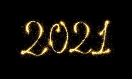 2021 sparkling burning golden numbers on dark black background. Vector concept for websine, application, banner and Christmas decoration.