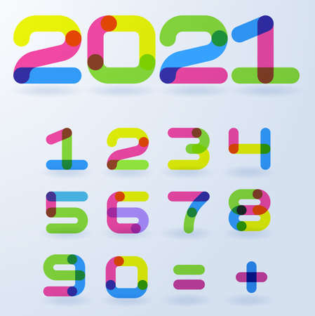 2021 Flat design vector bright rainbow colorful numbers for New Year banner, cover, application and header. design. Template for Christmas flyers, greeting cards, brochures.