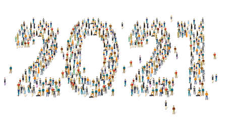 Large and diverse group of people gathered together in the shape of 2021. Flat design vector concept.