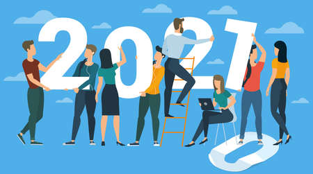 Flat design New Year vector concept. Preparing to meet 2020 new year. Business people building the numbers 2020. Company team are preparing to meet the new year over clear blue sky background. Zdjęcie Seryjne - 158181435