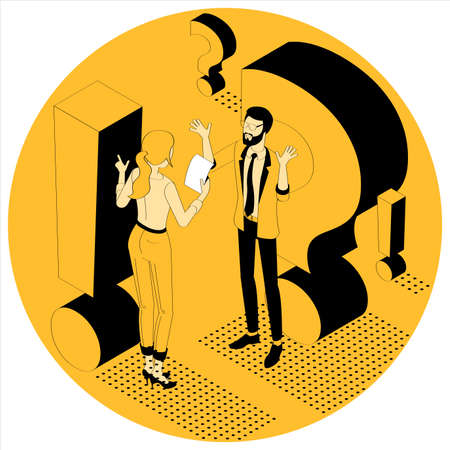 Exclamation and question mark. Flat design isometric vector illustration of young man and woman with alert sign. Exclamation mark, answer for question, alert, warning and notification.