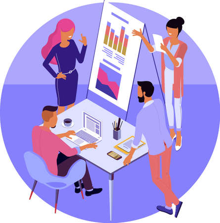 Business, workflow management and teamork. Young people work in a team and interact with graphs in modern office. Flat design vector isometric concept for landing page and mobile app.