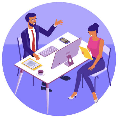 Business, workflow management and teamork. Young people work in a team and interact with graphs in modern office. Flat design vector isometric concept for landing page and mobile app. Zdjęcie Seryjne - 158147778