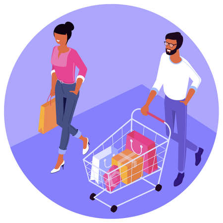Customers, buyers with shopping bags and shopping cart. Flat design isometric vector oncept for Big sale. Black Friday,