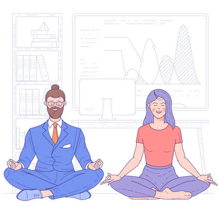 Young man and woman doing yoga on floor in office in lotus posture with closed eyes. to calm down the stressful emotion from hard work. Concept of meditation. Flat design vector concept.