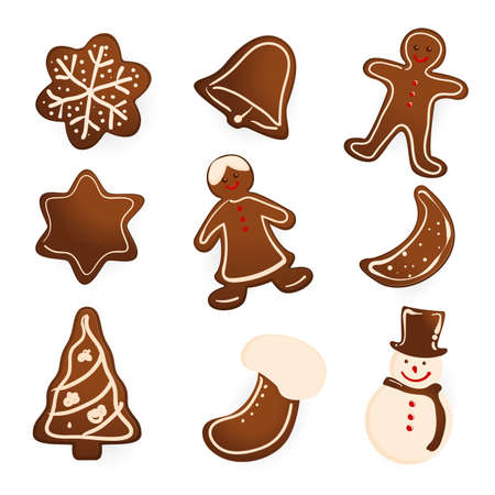 Gingerbread cookies on white background. Snowflake, star, man, angel, christmas tree and snowman shapes.