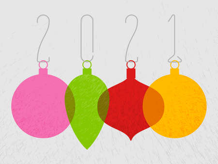 2011 New Year greeting card minimalist template with hanging decorations. Illustration