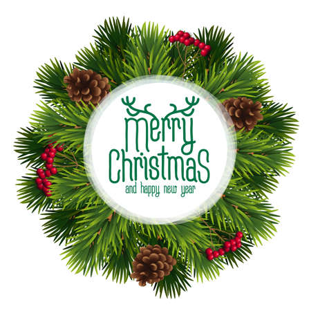 Christmas and New year realistic vector template with christmas tree branches, stars, cones and holly berries on white dark wood background.