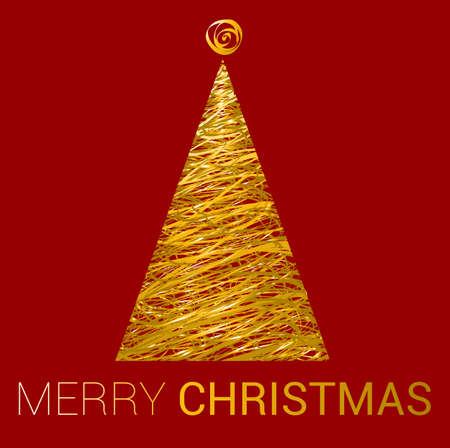 New year greeting card with golden Christmas Tree on red background. Vector template.