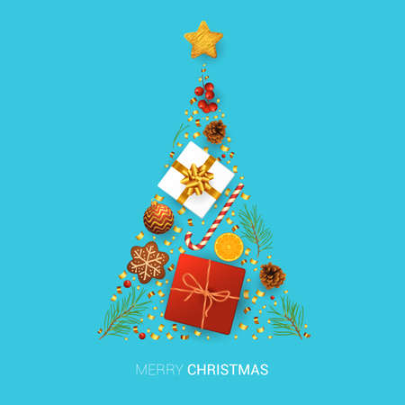 Christmas composition. Christmas and new year design element collection isolated on white background. Christmas and new year vector concept. Flat lay, top view.