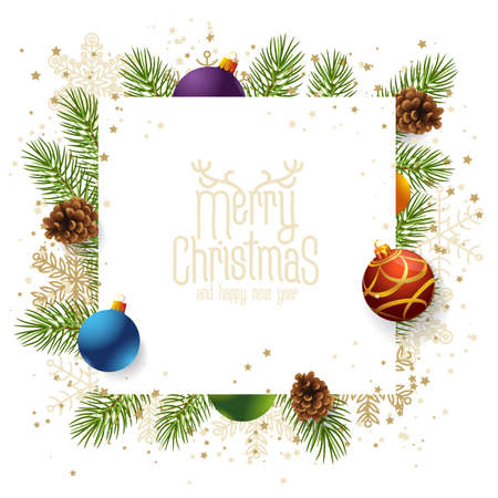 Christmas and New year realistic vector template with christmas tree branches, stars, cones and holly berries on venge dark wood background.