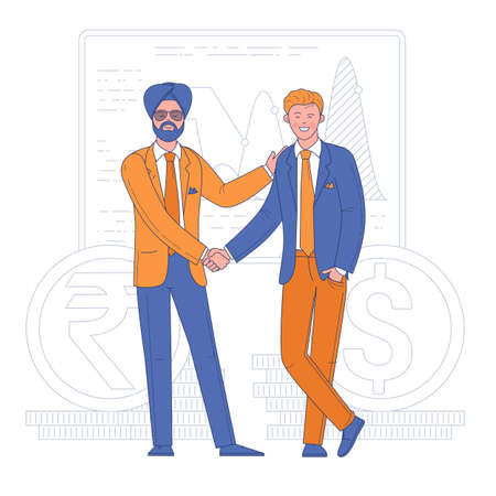 Two young men shaking hands in modern office. Diversity handshake. Agreement on business deal flat design vector concept. Ilustracja