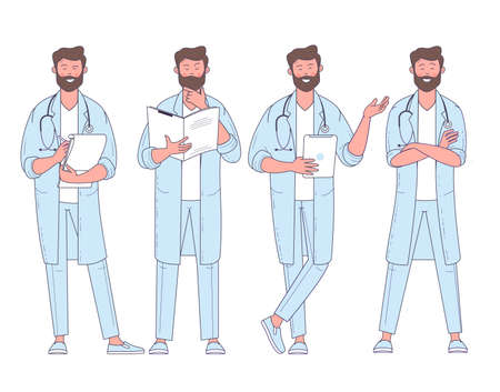 Flat design vector doctor with stethoscope character poses and actions set.