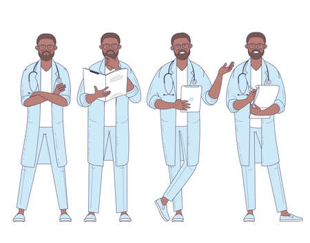 Flat design vector afro american doctor with stethoscope character poses and actions set.