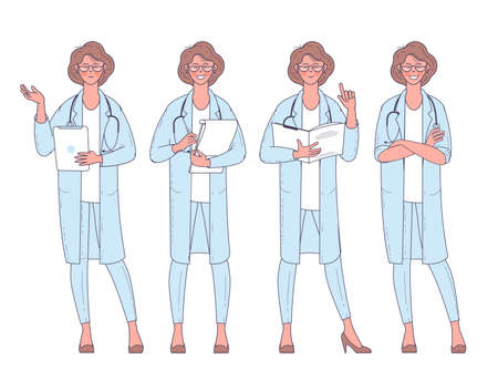 Flat design vector woman doctor with stethoscope character poses and actions set. Ilustracja