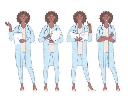 Flat design afro american vector woman doctor with stethoscope character poses and actions set. Ilustracja