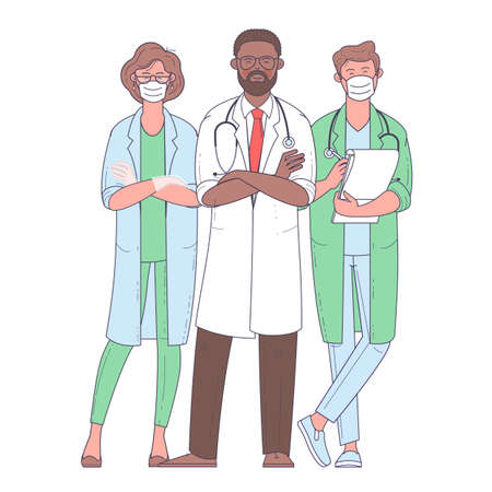 Multicultural group of medics. The medical team in white face masks. Doctor, nurse, surgeon. Flat design vector characters.