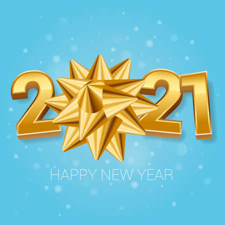2021 New Year Christmas holiday gold and blue greeting card vector template. Ready to use for poster, banner, invitation and glittering card.