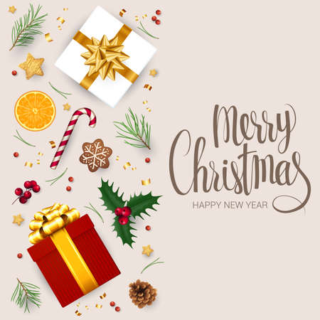Christmas composition and new year design element collection isolated on white background. Christmas and new year vector concept. Flat lay, top view.
