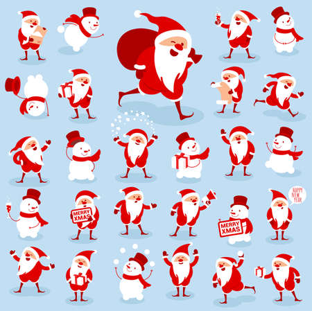 Flat design collection of Christmas Santa characters. Various activityes and poses. New Year icon set.