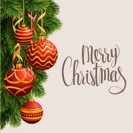 Christmas realistic vector template, christmas tree branches, white gift boxes with gold ribbons, cones and new year balls, holly berries