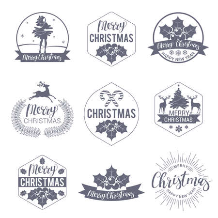 Christmas and happy new year labels and badges vector set vector. Trendy style decoration objects, symbols and design elements for Christmas.