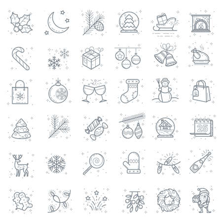 Flat design Christmas line icon vector set. New year signs for web design and mobile app. Outline style pictogram collection.