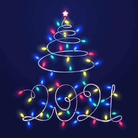 2021 Christmas lights vector template. Colorful New Year garland. Zdjęcie Seryjne