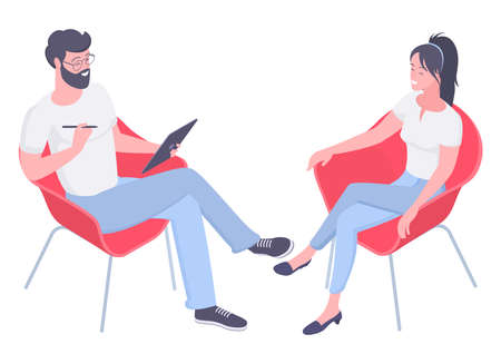 Flat design isometric vector concept for psychotherapy session. Patient with psychologist, psychotherapist office. Psychiatrist session in mental health clinic. Illustration