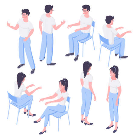 Flat design isometric characters body poser and construcror. Ctanding and sitting man and woman figures front and back view for composing action scenes.