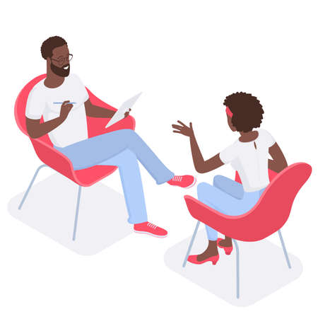 Flat design isometric vector concept for psychotherapy session. Afroamerican patient with psychologist, psychotherapist office. Psychiatrist session in mental health clinic. Illustration