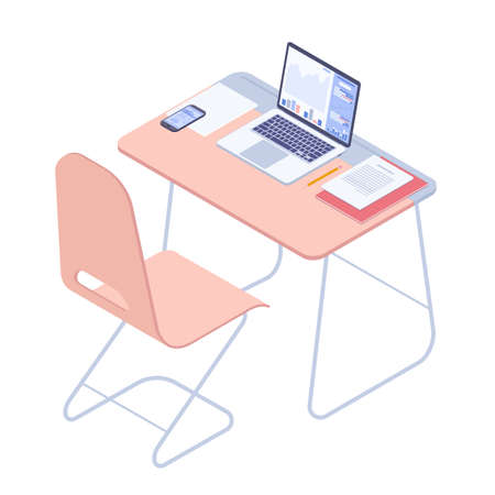 School and university student workplace. University class flat design isometric vector concept.