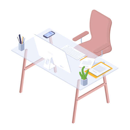 Flat design isometric workplace. Modern office workspace. Vector illustration business desk concept.