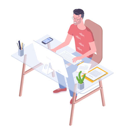 Young professional at work. Flat design vector concept for web banner, infographics, character design and mobile app.