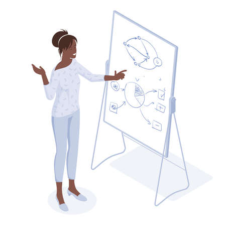 Young afroamerican coach speaker and diverse team people in the class at corporate training. Audience at lecture workshop. Flat design isometric concept. Ilustracja