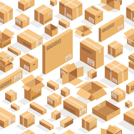 brown boxes on white seamless pattern Ilustracja
