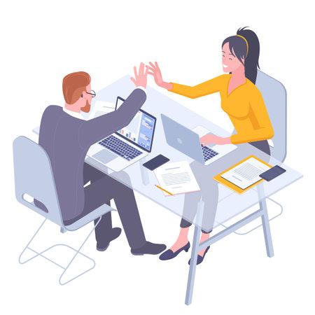 Teamwork successful high five together Ilustracja