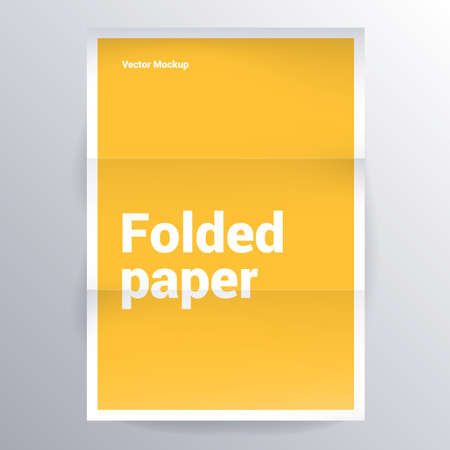 folded yellow paper vector template