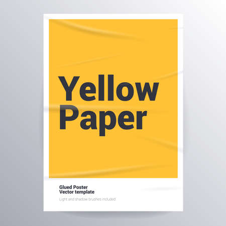 Glued paper yellow poster template. Ilustracja