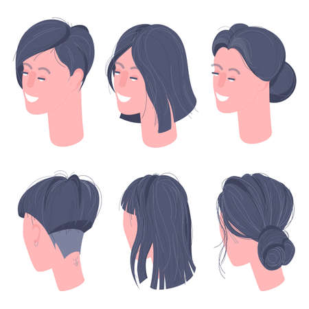 Flat design isometric women character heads