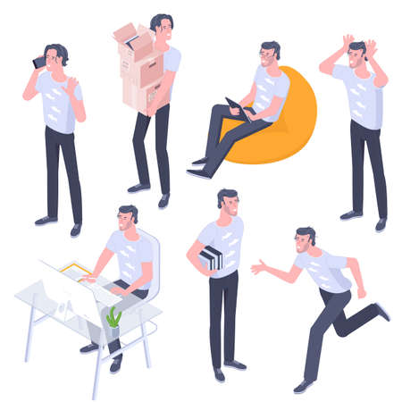 young men characters poses Ilustracja