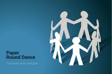 team in chain round dance Ilustracja