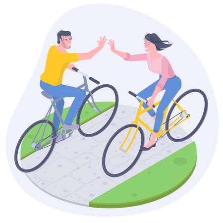 Young man and woman cycling.