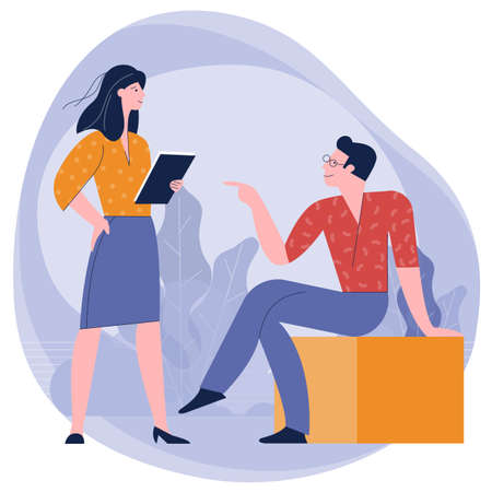 man and woman taking talking to each othe Ilustracja