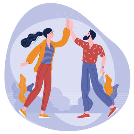 Young colleagues give five to each other Ilustracja