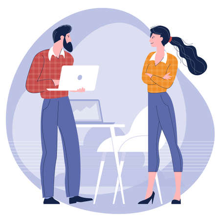 man and woman taking talking to each other
