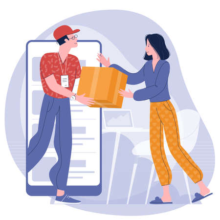 Young woman receiving parcel from delivery service