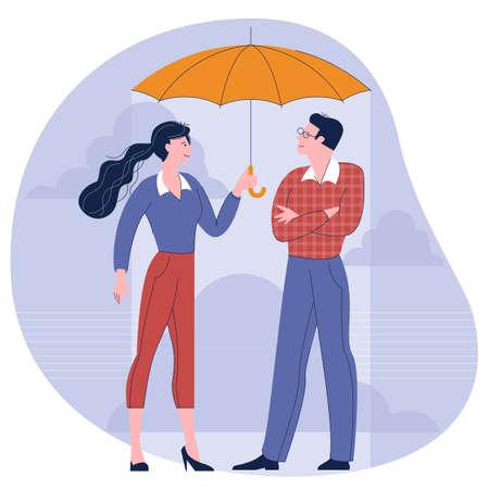 Man and woman under an umbrella.